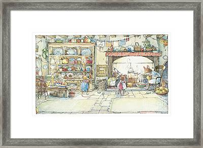 The Kitchen At Crabapple Cottage Framed Print