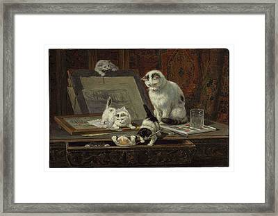 The Kitten Art Lesson Framed Print by MotionAge Designs