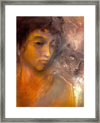 The Kitty And Her Muse Framed Print by Paul Birchak