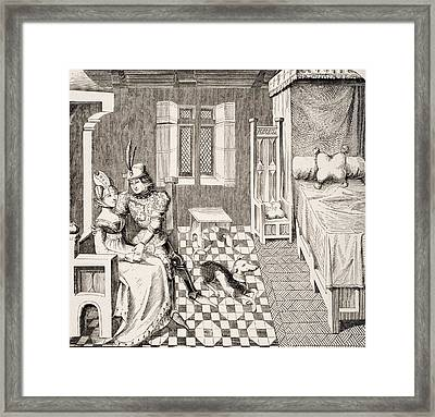 The Knight And His Lady. Costumes Of Framed Print by Vintage Design Pics