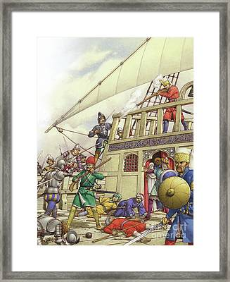 The Knights Of St John Seized Turkey's Finest Galleon, The Sultana Framed Print by Pat Nicolle