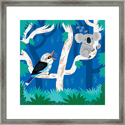 The Koala And The Kookaburra Framed Print