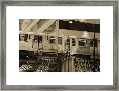 The L Downtown Chicago In Sepia Framed Print