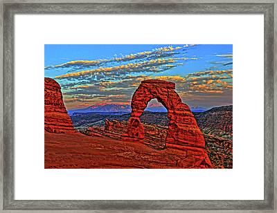 Framed Print featuring the photograph The La Sal Mountains And Arch by Scott Mahon