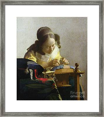 The Lacemaker Framed Print by Jan Vermeer