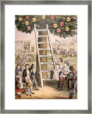The Ladder Of Fortune To The American Dream Framed Print
