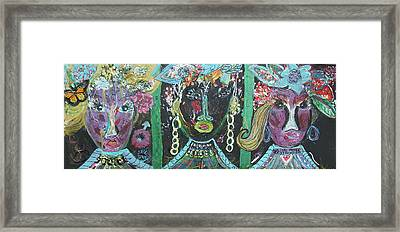 The Ladies From Cowville Framed Print by Anne-Elizabeth Whiteway