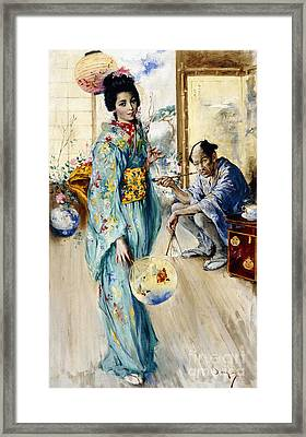 The Lady And Sada San Framed Print by William Merritt Berger