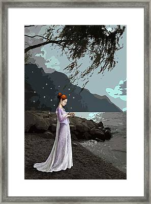 Framed Print featuring the painting The Lady And The Kitty by Raffaella Lunelli