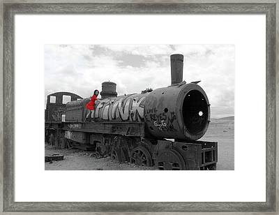 Framed Print featuring the photograph The Lady And The Train by Aidan Moran
