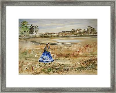 The Lady In Blue Framed Print by Edward Wolverton