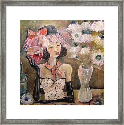 The Lady In The Flower Hat Framed Print by Jenna Fournier