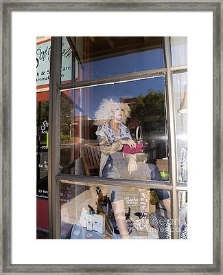 The Lady In The Window Petaluma California Usa Dsc3773 Framed Print by Wingsdomain Art and Photography