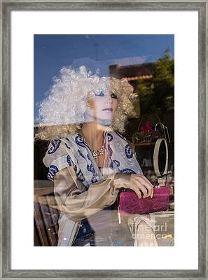 The Lady In The Window Petaluma California Usa Dsc3774 Framed Print by Wingsdomain Art and Photography