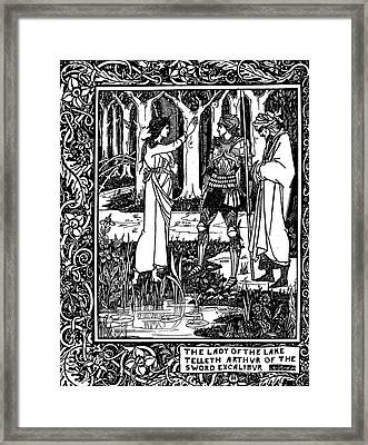The Lady Of The Lake Telleth Arthur Of The Sword Excalibur Framed Print