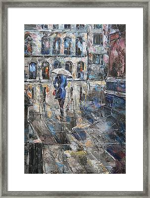 The Lady In Blue Framed Print