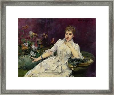 The Lady With Flowers Framed Print