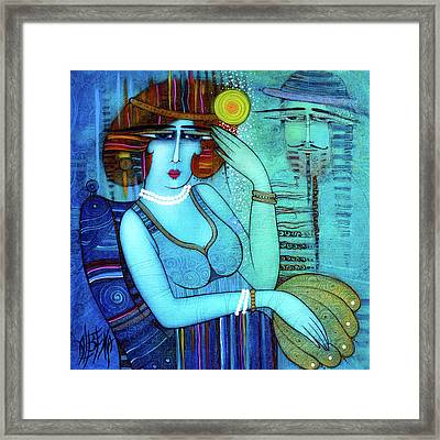 The Lady With Pearls Framed Print by Albena Vatcheva