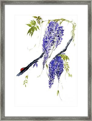 The Ladybird And The Wisteria Framed Print