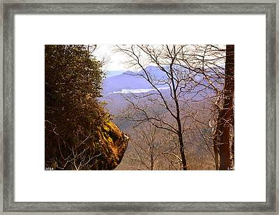 The Lake At Table Rock Seen From Caesars Head State Park Framed Print by Lisa Wooten