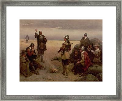 The Landing Of The Pilgrim Fathers Framed Print by George Henry Boughton