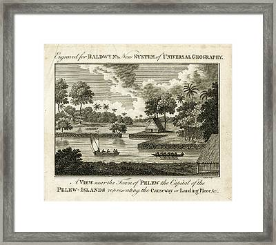 Framed Print featuring the drawing The Landing Place At Palau by ex Keats