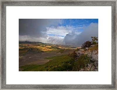 The Landscape Near The Roman Ruins Framed Print by Panoramic Images