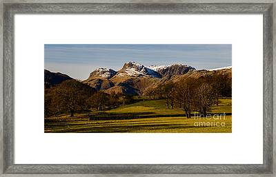 The Langdale Pikes In Winter Framed Print by John Collier