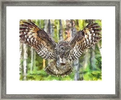 The Largest Owl - Da Framed Print by Leonardo Digenio