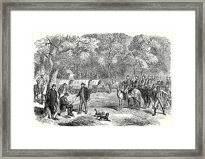 The Last Days Of The Confederate Government  Mr Jefferson Davis Signing Acts Of Government By The R Framed Print by American School