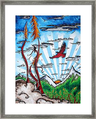 The Last Frontier Original Madart Painting Framed Print by Megan Duncanson