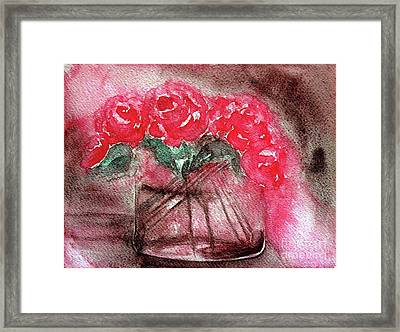 The Last Red Roses Framed Print