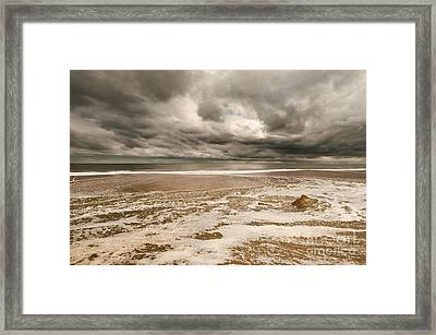 Framed Print featuring the photograph The Last Sand Castle Of The Season by Jim Moore