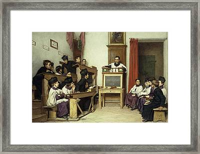 The Latin Class Framed Print by Ludwig Passini