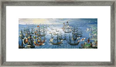 The Launching Of English Fire Ships On The Spanish Fleet Off Calais Framed Print by Flemish School