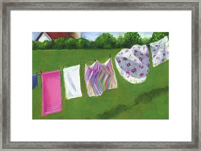 The Laundry On The Line Framed Print by Joyce Geleynse