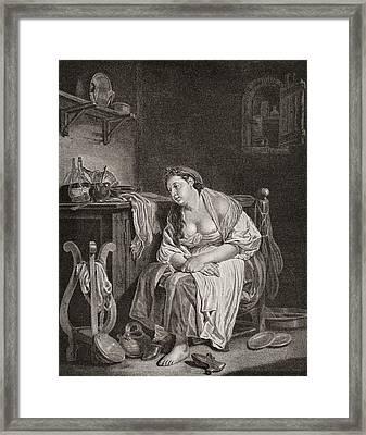 The Lazy Woman, After J.b. Greuze Framed Print by Vintage Design Pics