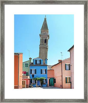 The Leaning Campanile Of Burano Framed Print