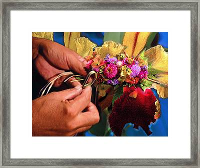The Lei Maker Framed Print by Jeff Burgess