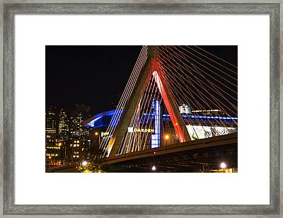 The Lenny Zakim Bridge Lit Up In Red Td Garden Framed Print by Toby McGuire