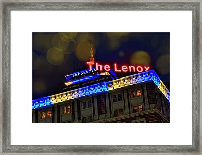 Framed Print featuring the photograph The Lenox And The Pru - Boston Marathon Colors by Joann Vitali