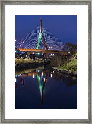 The Leonard P Zakim Bridge Lit Up In Green For St Patrick's Day Framed Print by Toby McGuire
