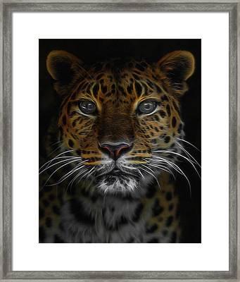 The Leopard Digital Art Framed Print