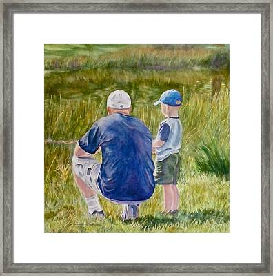 The Lesson With John And Ryker Framed Print by Sheri Jones
