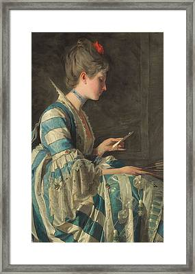 The Letter Framed Print by Domenico Induno