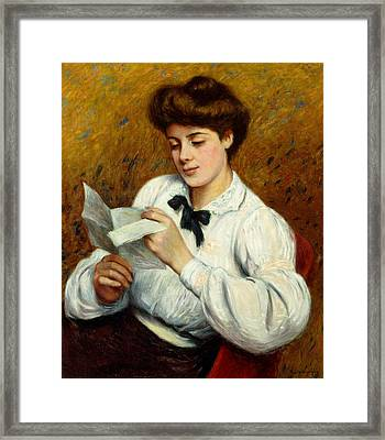 The Letter Framed Print by Federigo Zandomeneghi