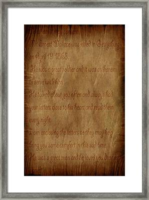 The Letter Home Framed Print by Evelyn Patrick