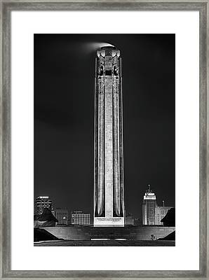 Framed Print featuring the photograph The Liberty Memorial Black And White by JC Findley