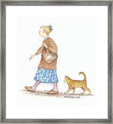 The Librarian's Cat Framed Print