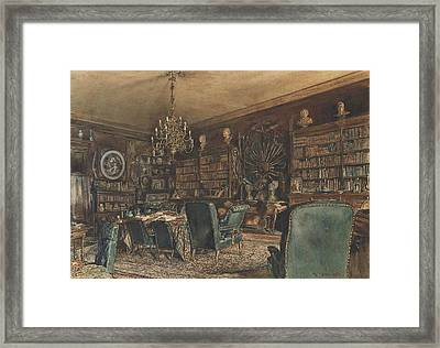 The Library In The Apartment Of Count Lanckoronski In Vienna, Riemergasse 8 Framed Print